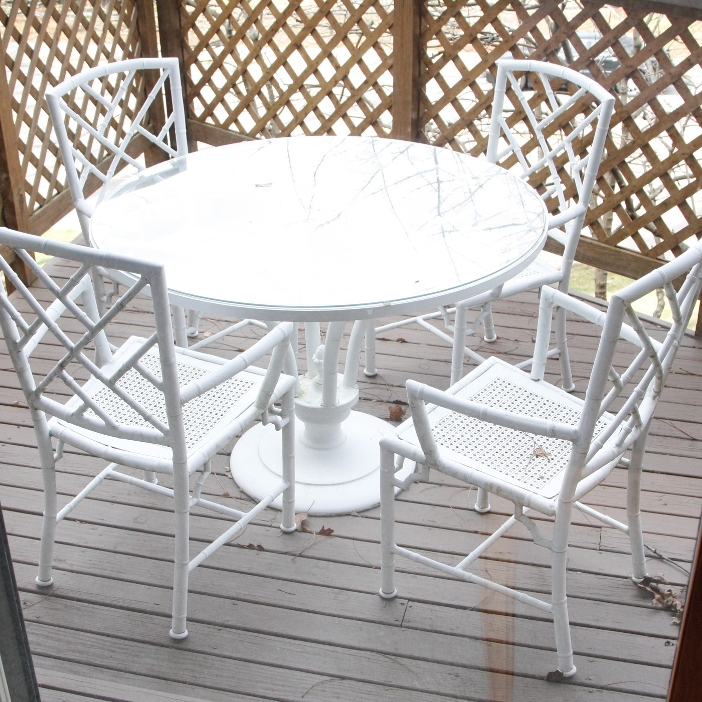 White metal bamboo outdoor patio dining set ebth - White metal dining table ...
