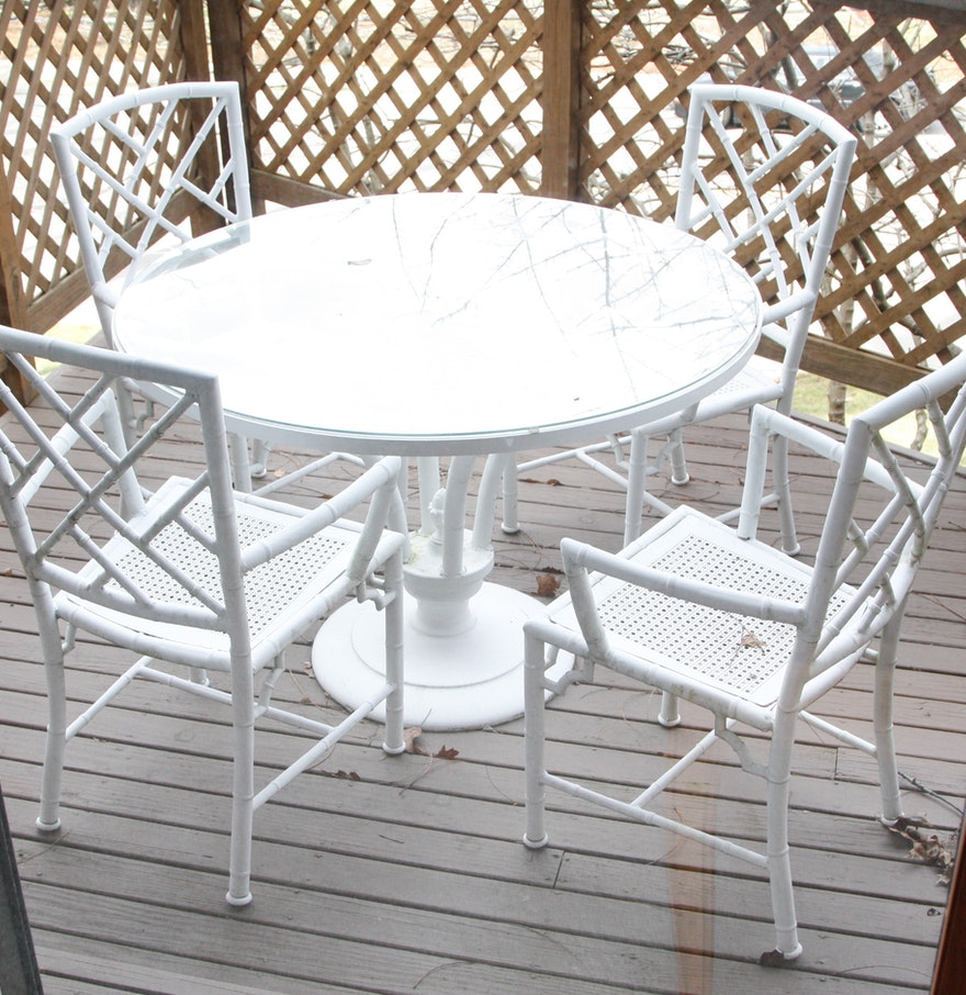 White metal bamboo outdoor patio dining set ebth for White metal outdoor dining table