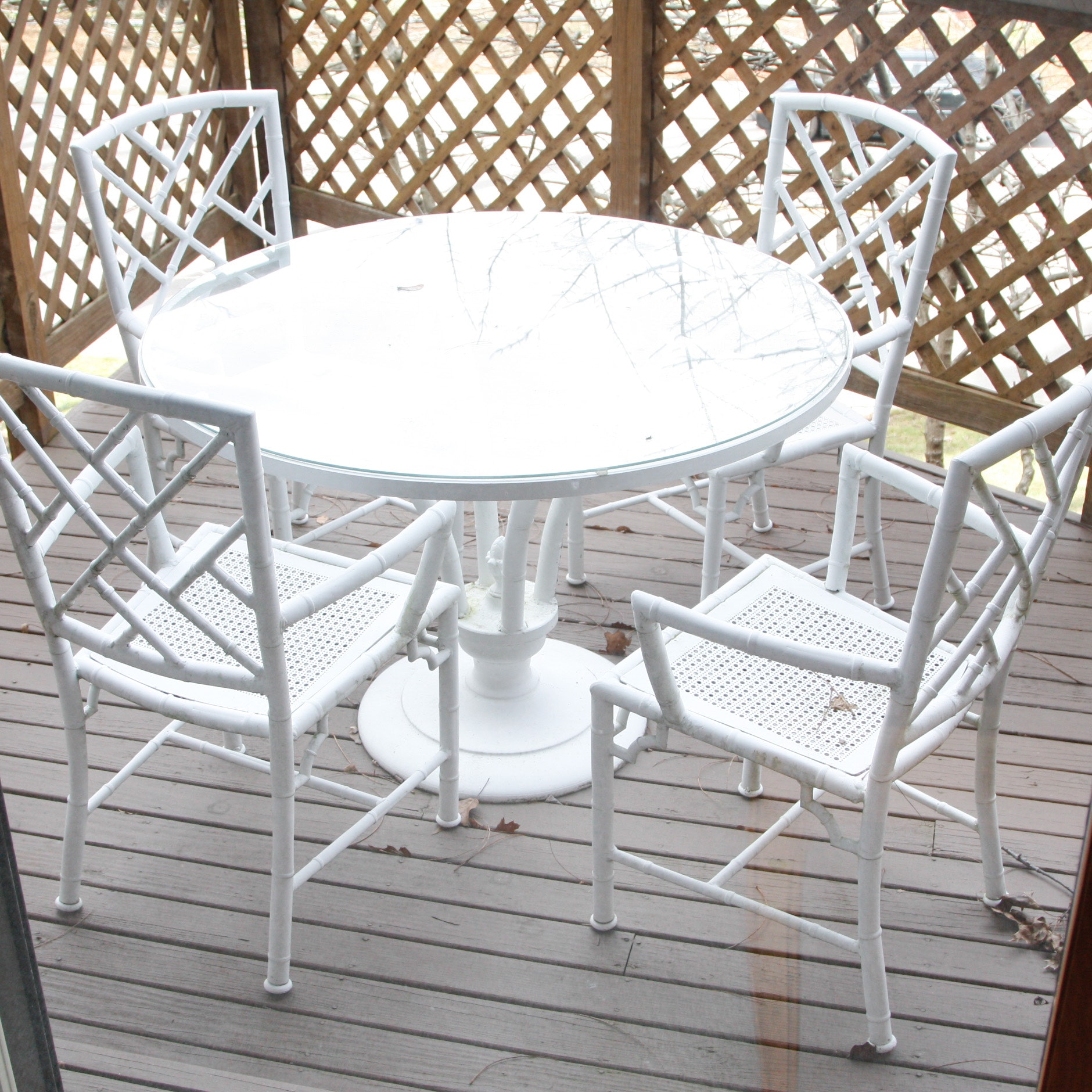 White Metal Bamboo Outdoor Patio Dining Set ...