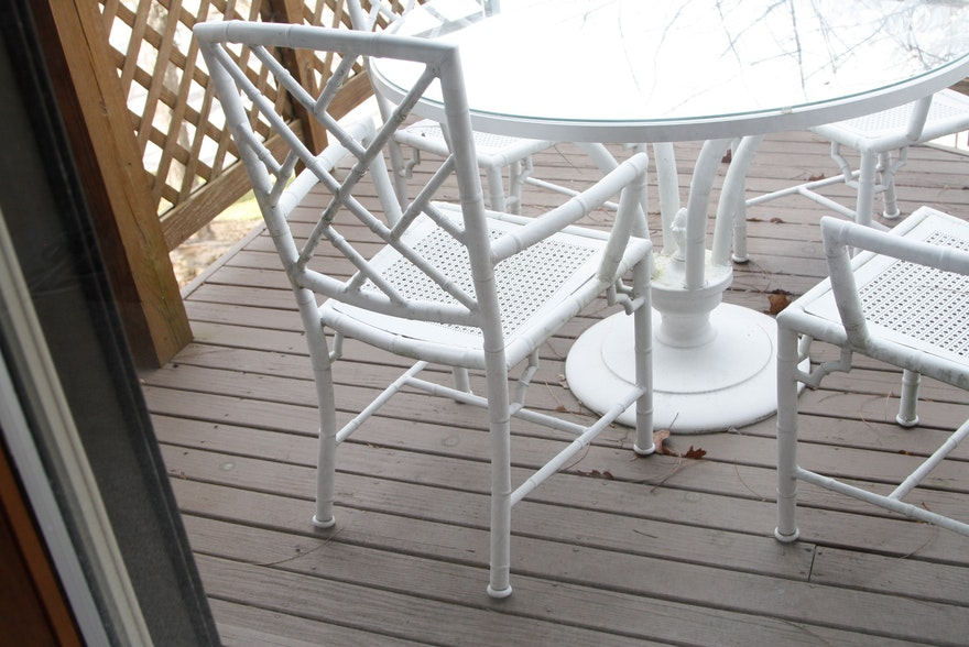 White Metal Bamboo Outdoor Patio Dining Set : EBTH