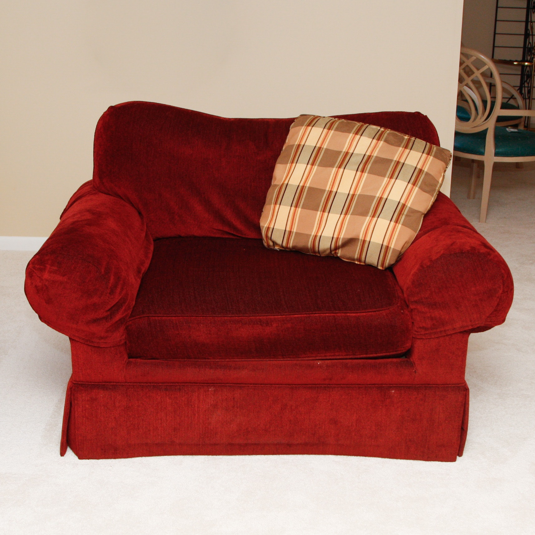 Hickory Chair Co. Red Upholstered Armchair