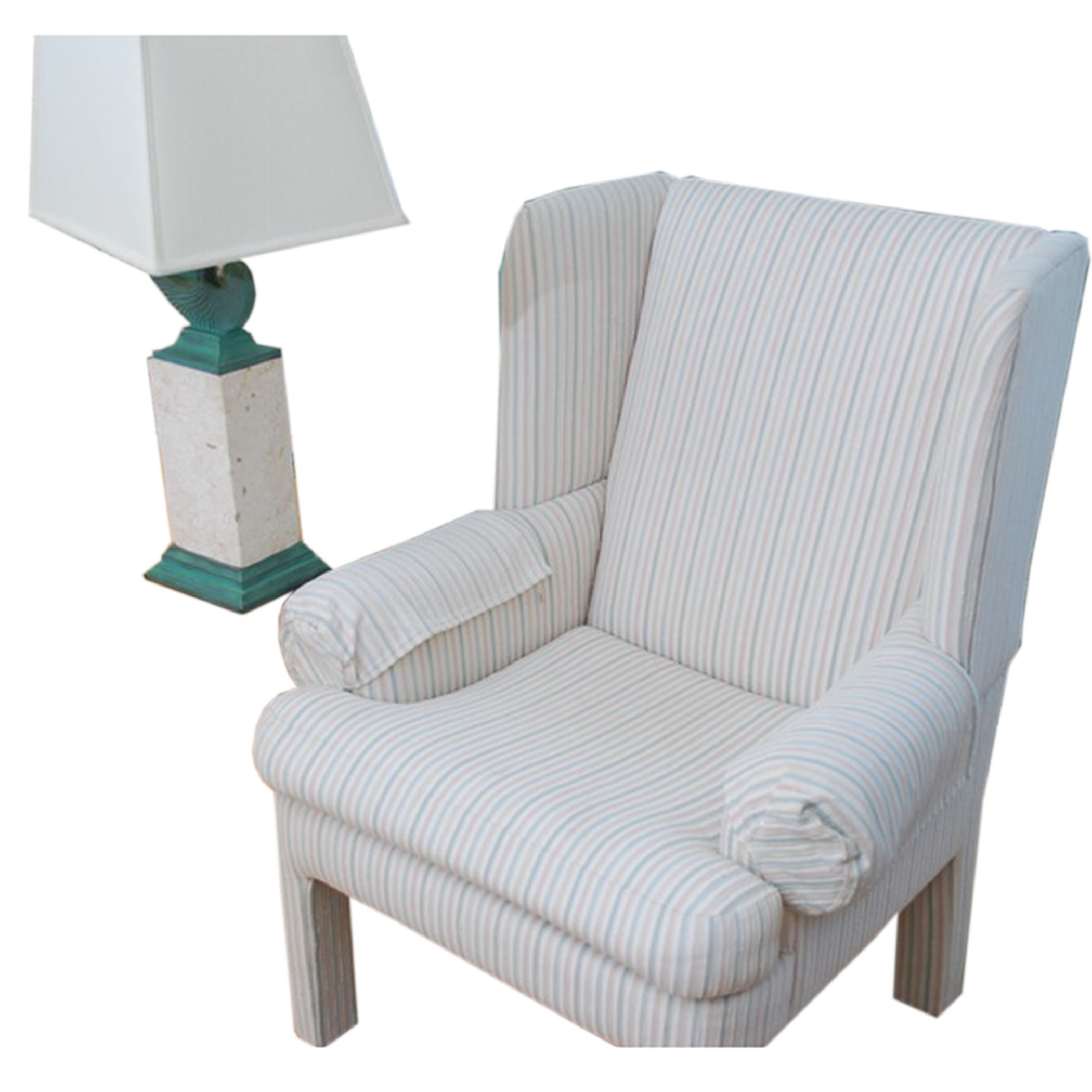 Club Chair and Stone Lamp
