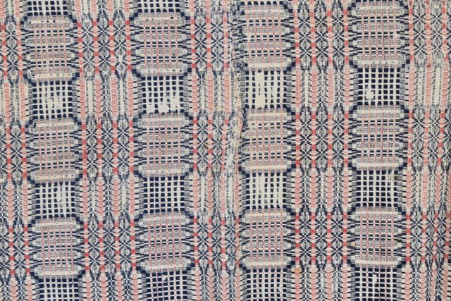 Red Cream And Blue Hand Woven Coverlets Ebth