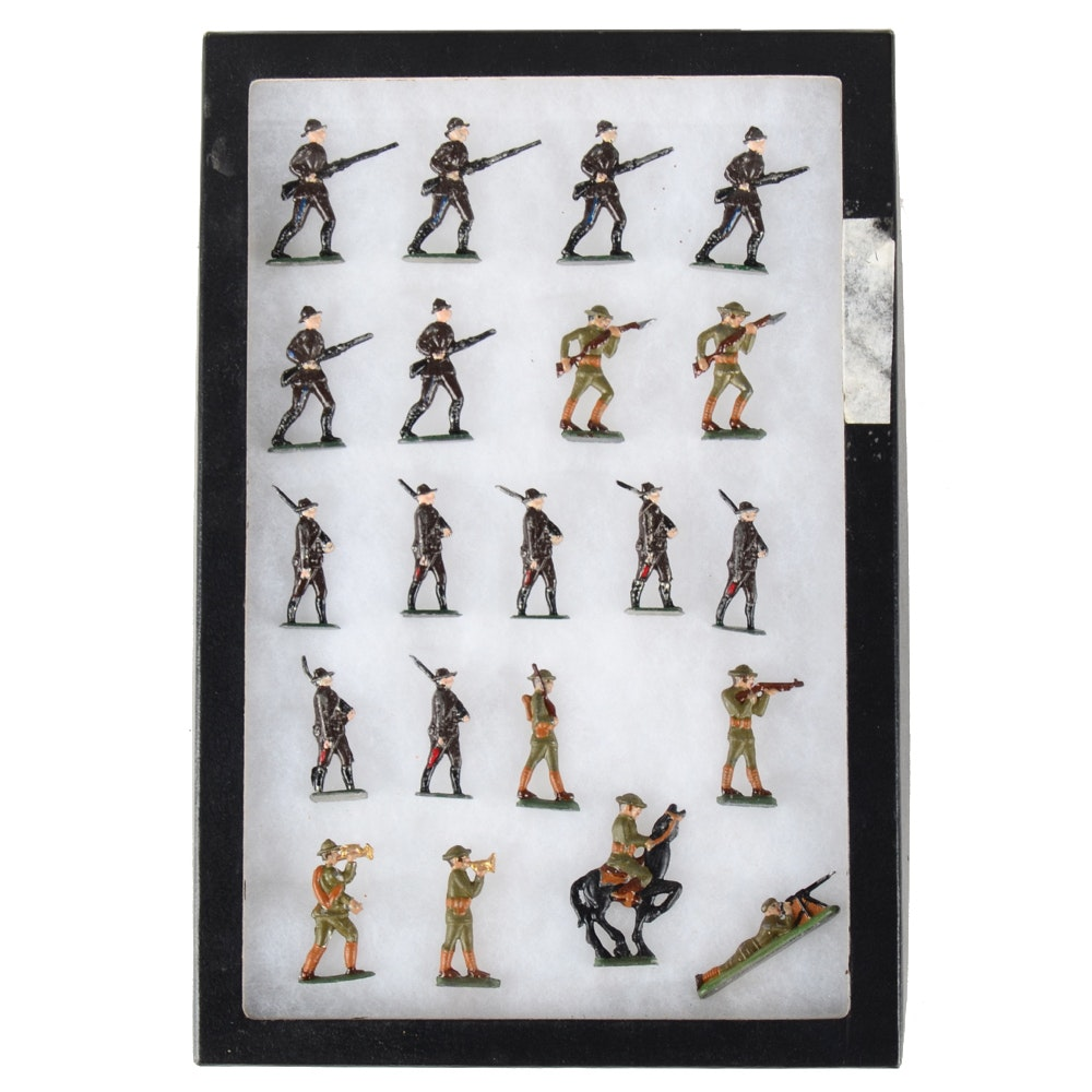Twenty-One Cast Lead Painted Toy Soldiers