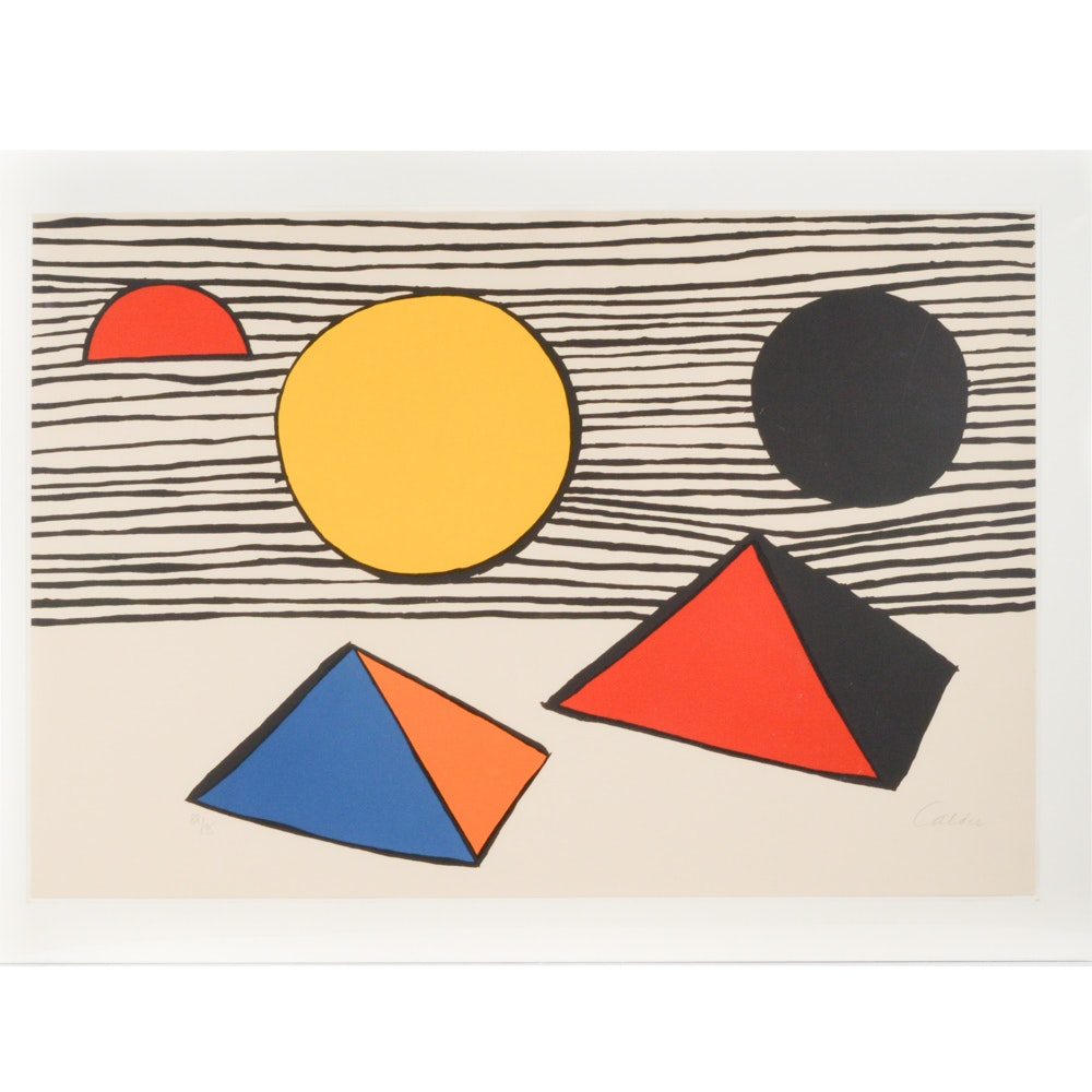"""Alexander Calder Hand Signed Limited Edition Lithograph  """"Two & Half Disks"""""""