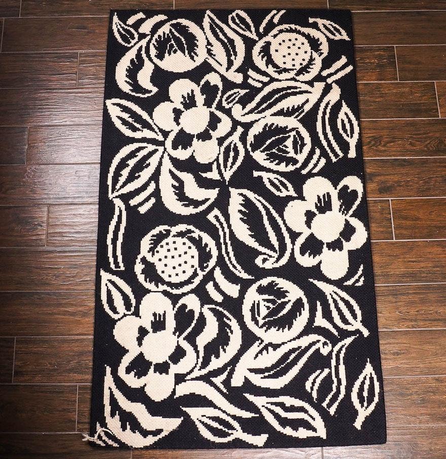 Brazilian hand made black and white wool needlepoint area for Black and white wool rug