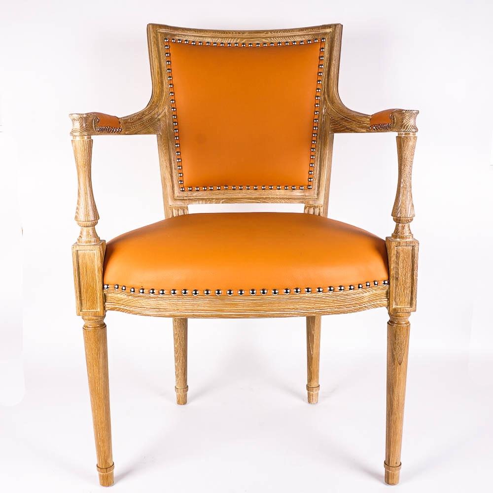 "Louis XVI Style ""Marilyn"" Orange Leather Armchair by Global Views"
