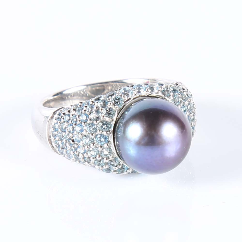 Honora Freshwater Pearl and Blue Topaz Ring