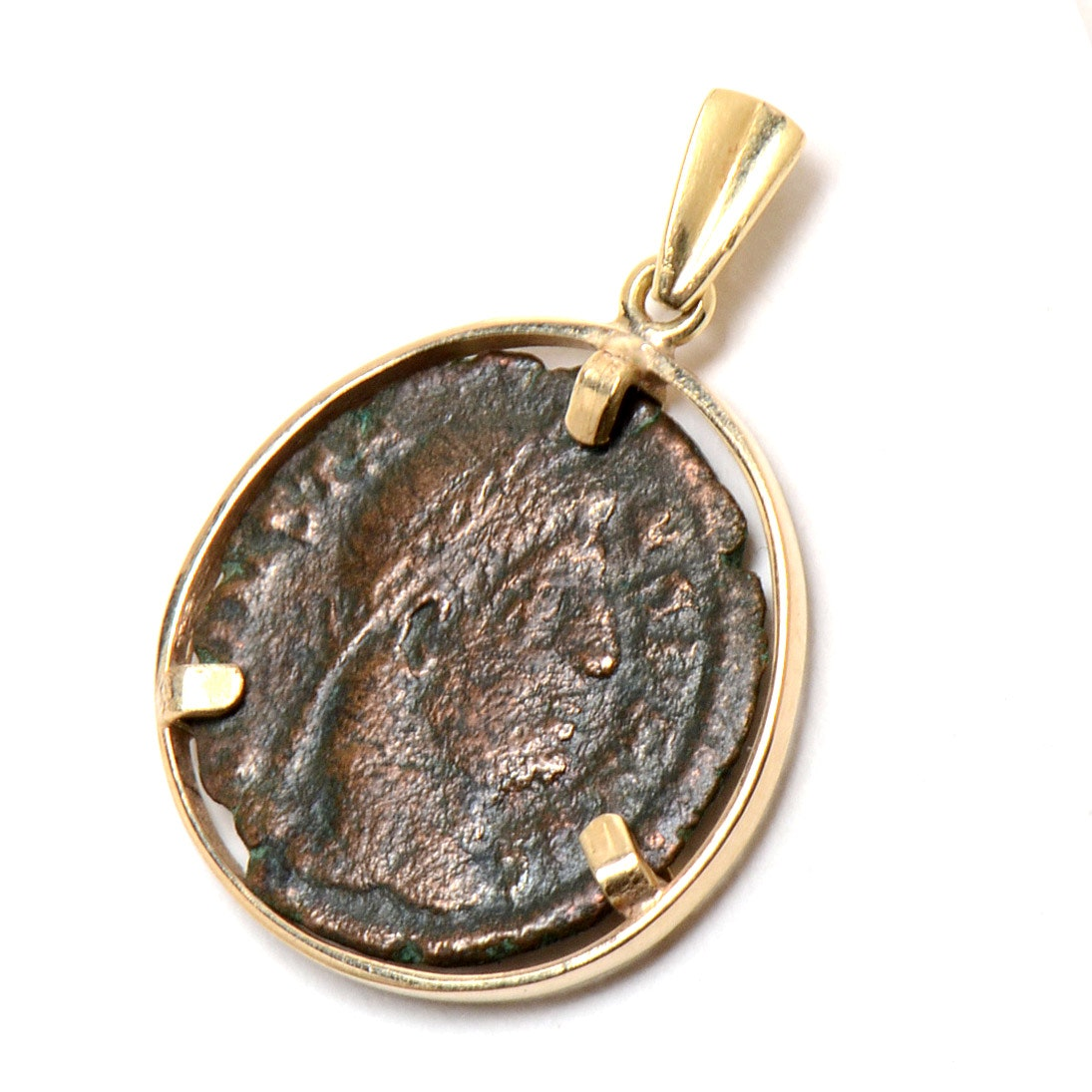 14K Yellow Gold Pendant Set With Ancient Roman Imperial Coin