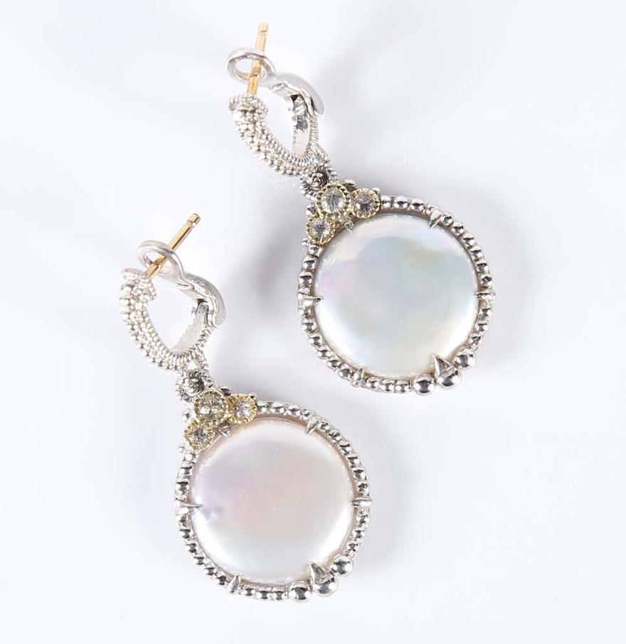 Judith Ripka Coin Pearl And White Sapphire Earrings