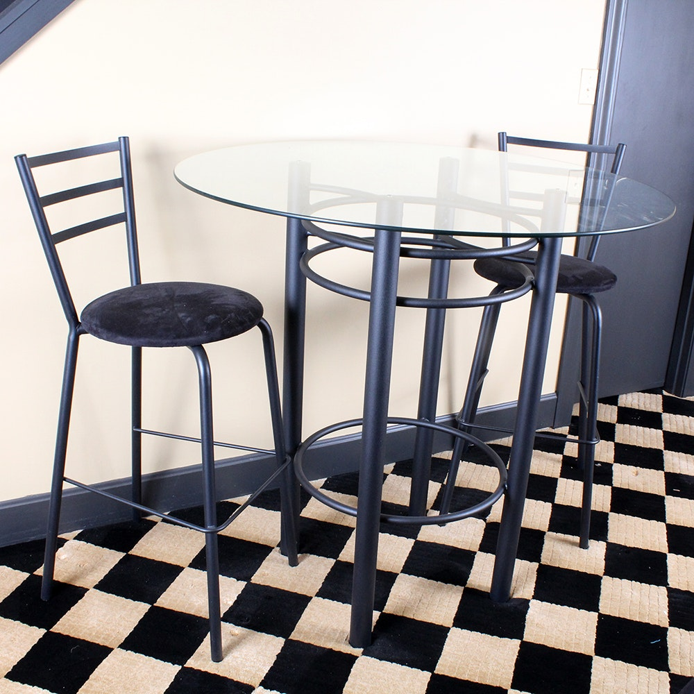 metal cafe set with a glass topped table : ebth