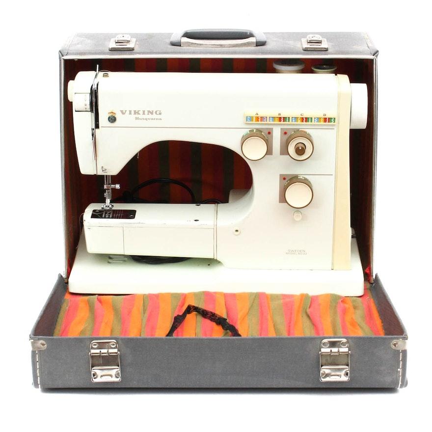 Vintage Viking Husqvarna Sewing Machine And Sewing Box Table EBTH Cool Vintage Viking Sewing Machine