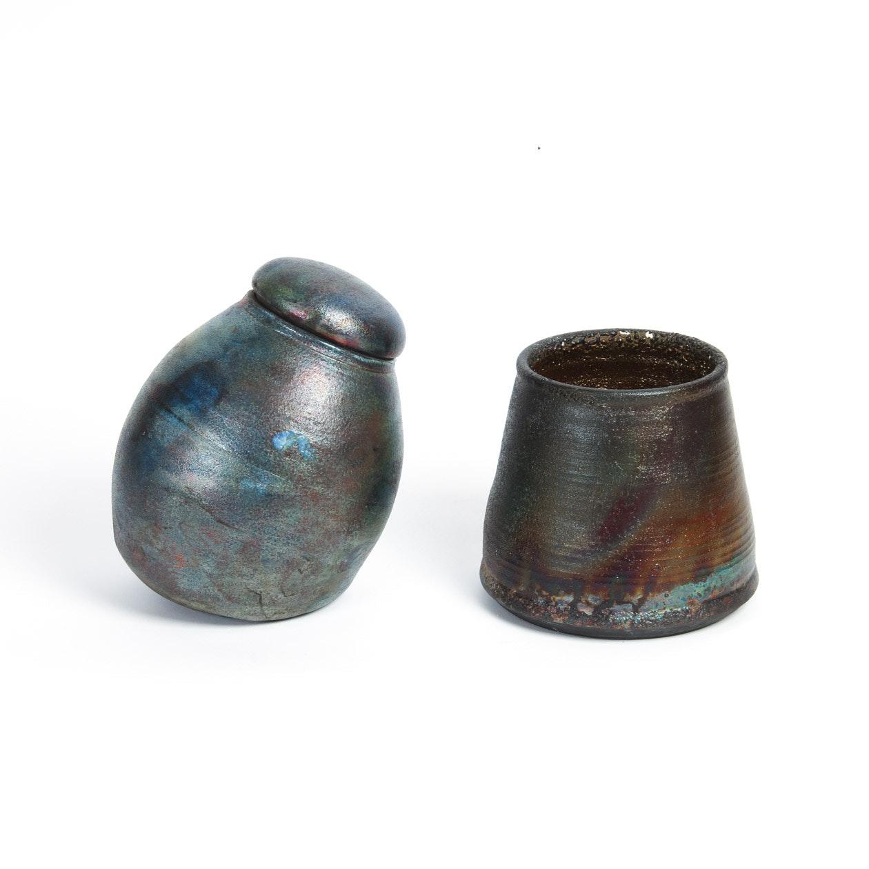Pair of Raku Pottery Pieces