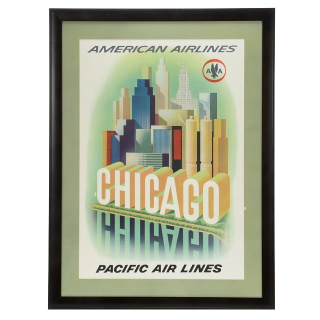"""Original Vintage 1964 American Airlines """"Chicago"""" Poster for World's Fair"""