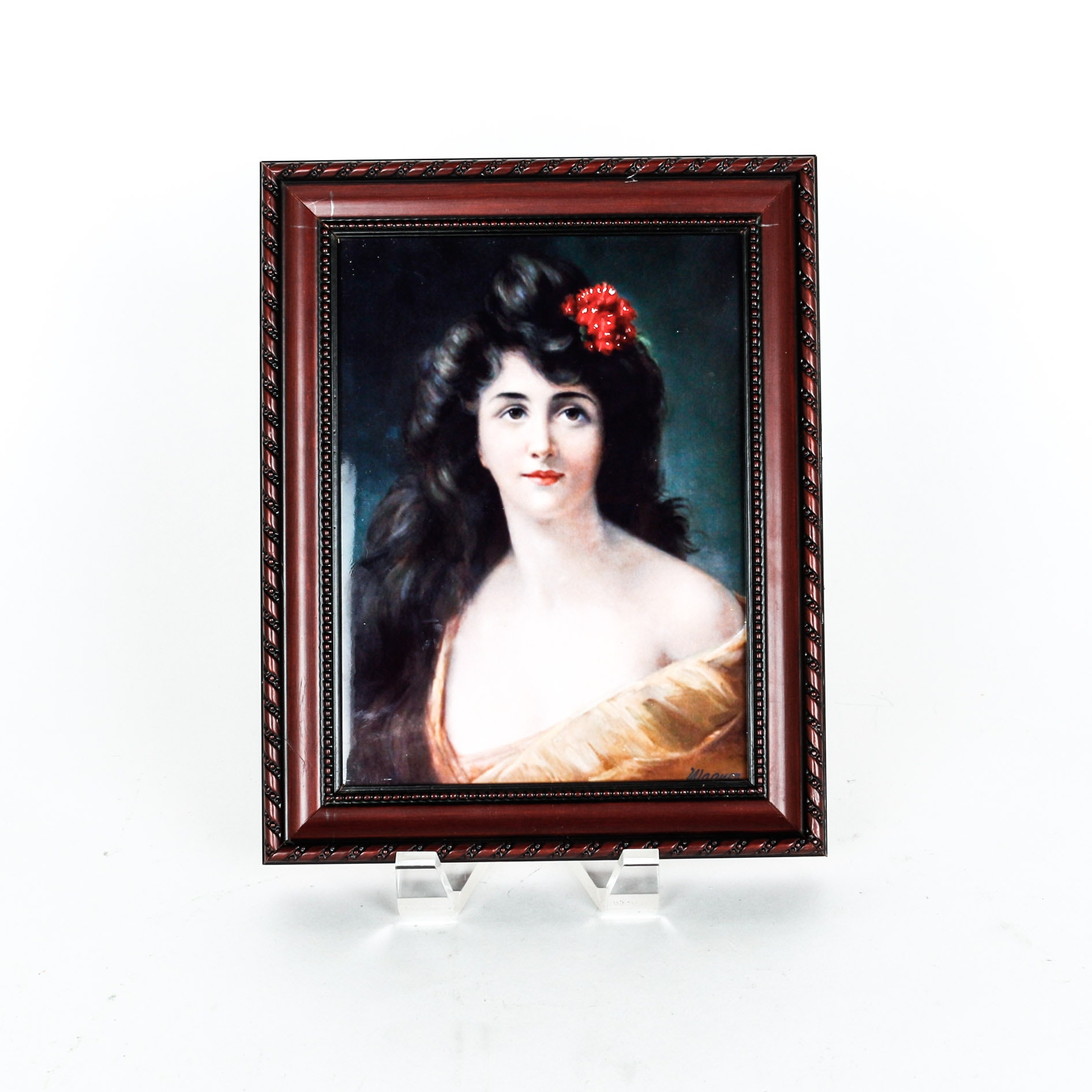 Porcelain Plaque Of Young Woman
