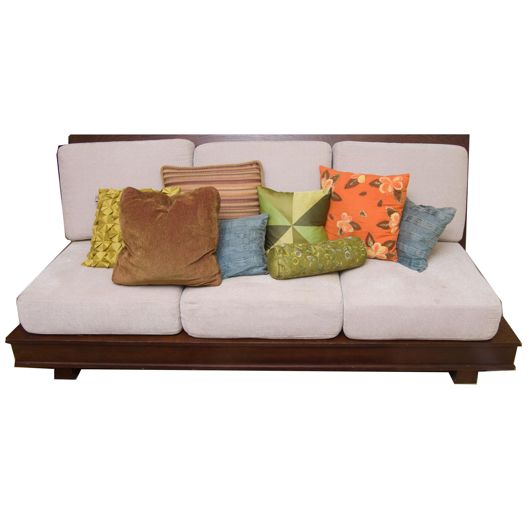 Oak Three Cushion Sofa With Storage