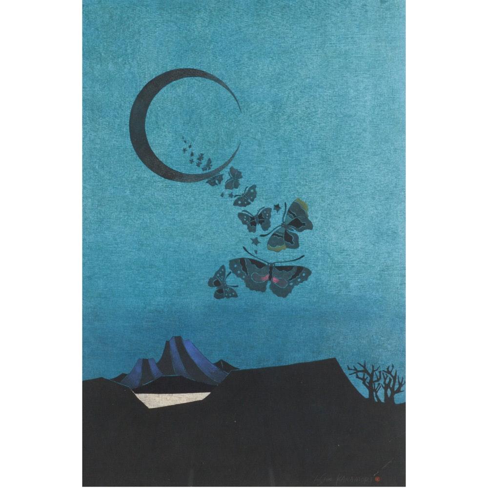 "Yoshio Kanamori Woodblock ""Butterflies Mountain and Lake"""