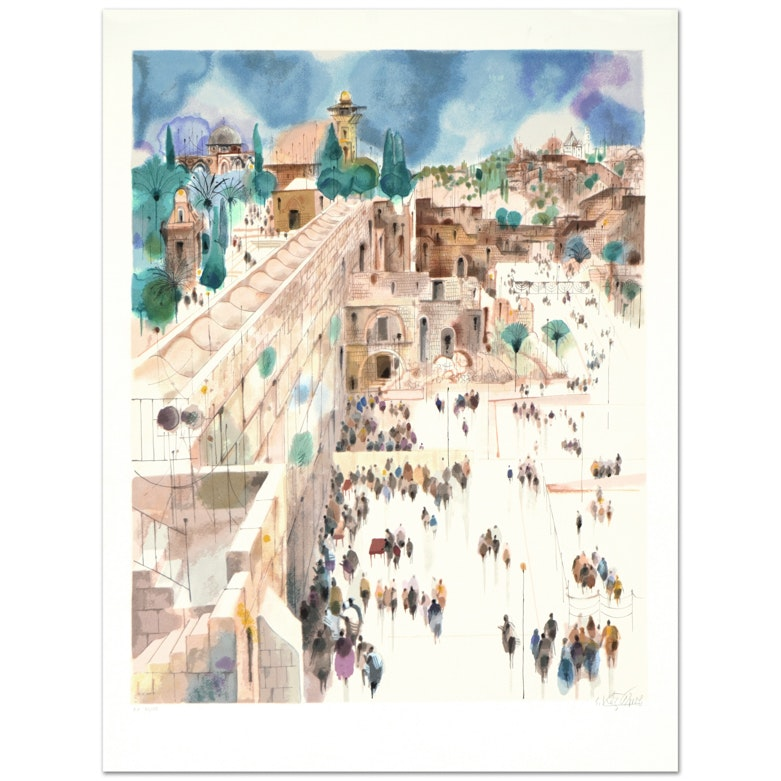 "Shmuel Katz Signed Limited Edition Serigraph ""Jerusalem-The Wall"""