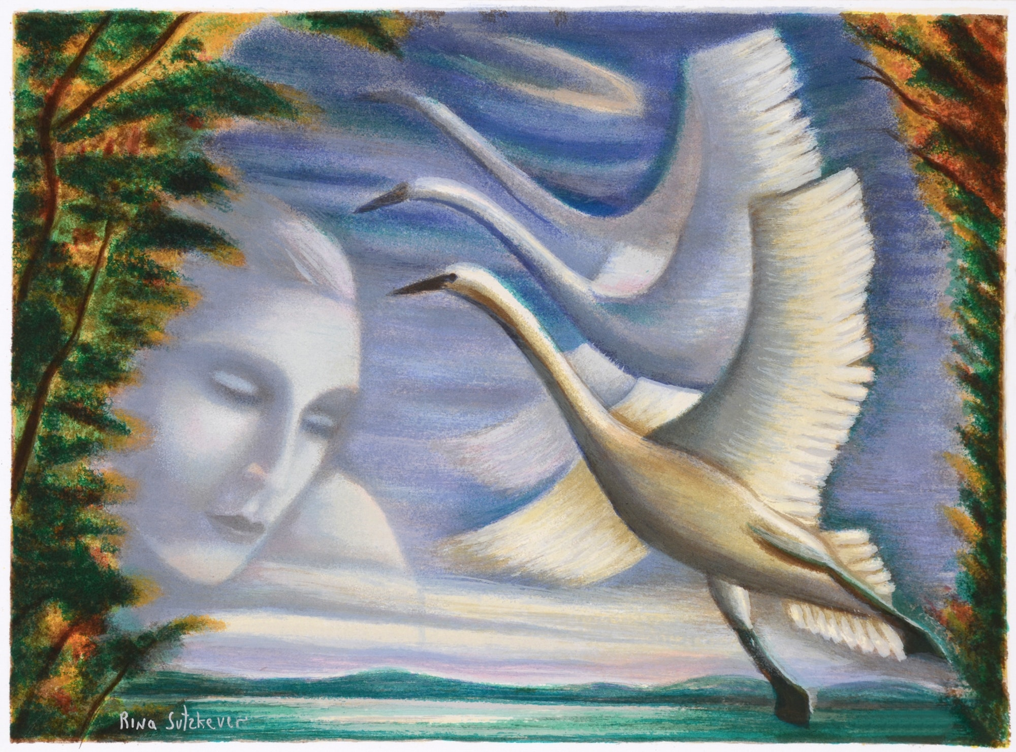 """Rina Sutzkever Limited Edition Signed Serigraph on Paper """"Fly Away"""""""