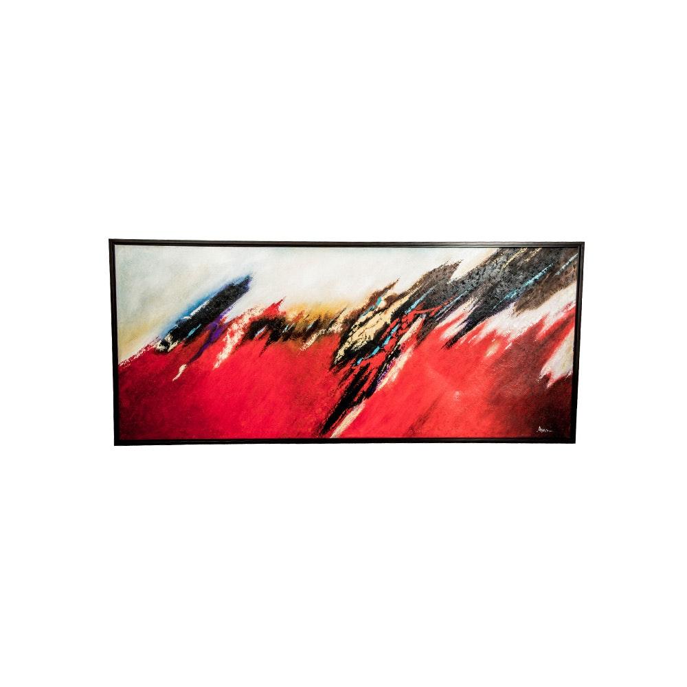 """Agus Riyanto """"Tsunami"""" Oil on Canvas"""