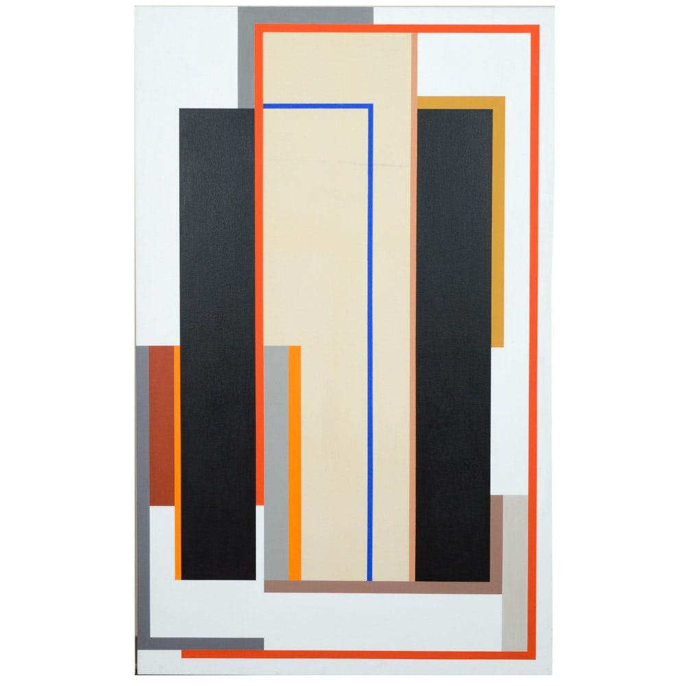 "Elaine Lustig-Cohen Acrylic Painting on Canvas ""Black Pilaster V"""