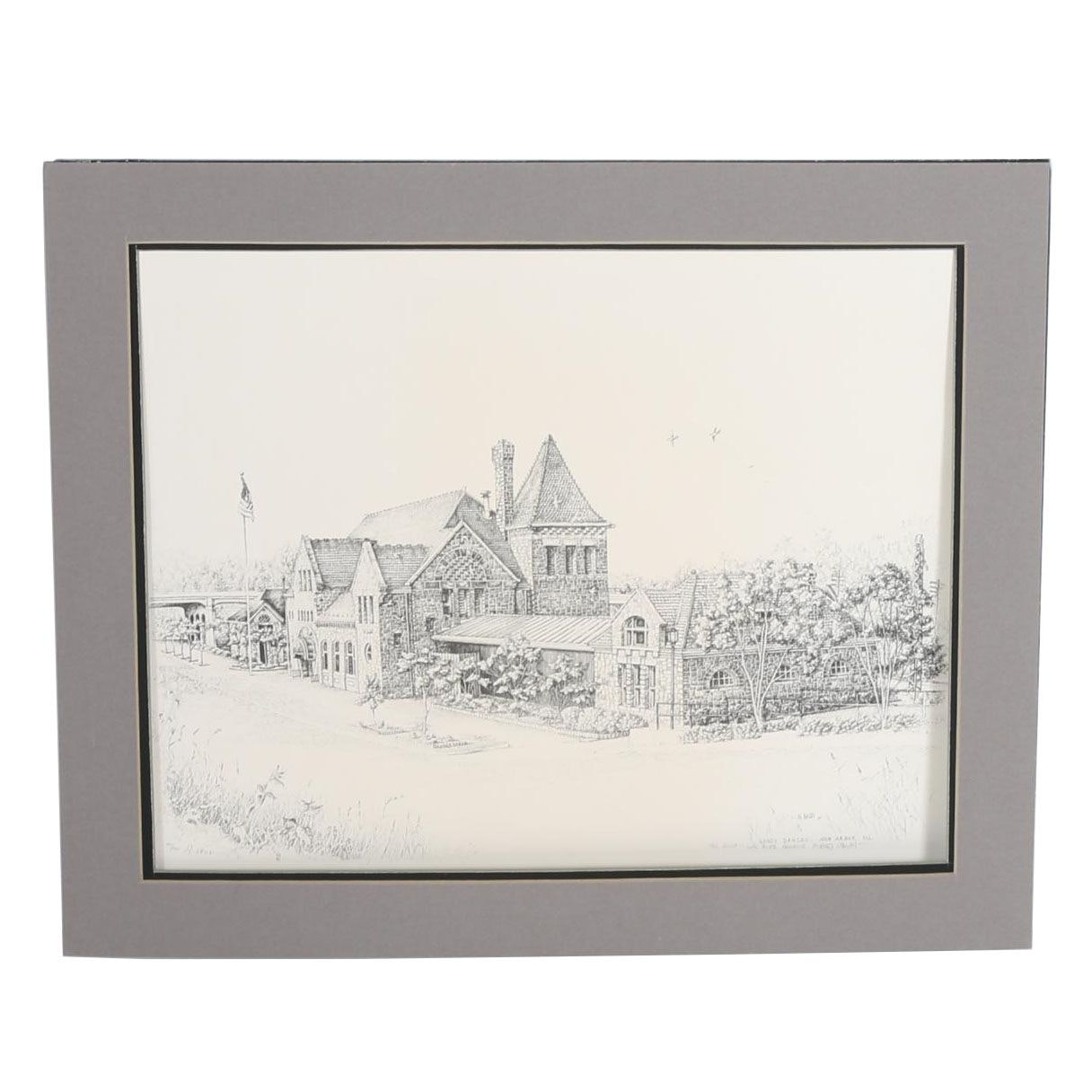 "Marti Naudi Limited Edition Offset Lithograph ""Gandy Dancer Restaurant"""