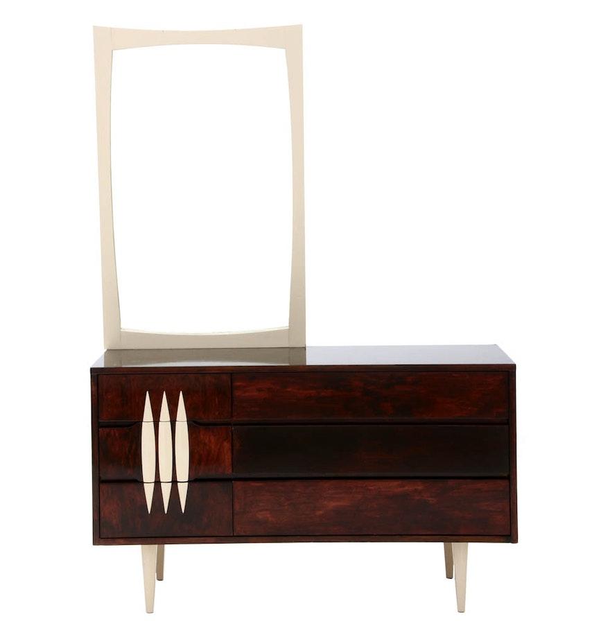 mid century modern dresser with mirror by kroehler ebth. Black Bedroom Furniture Sets. Home Design Ideas