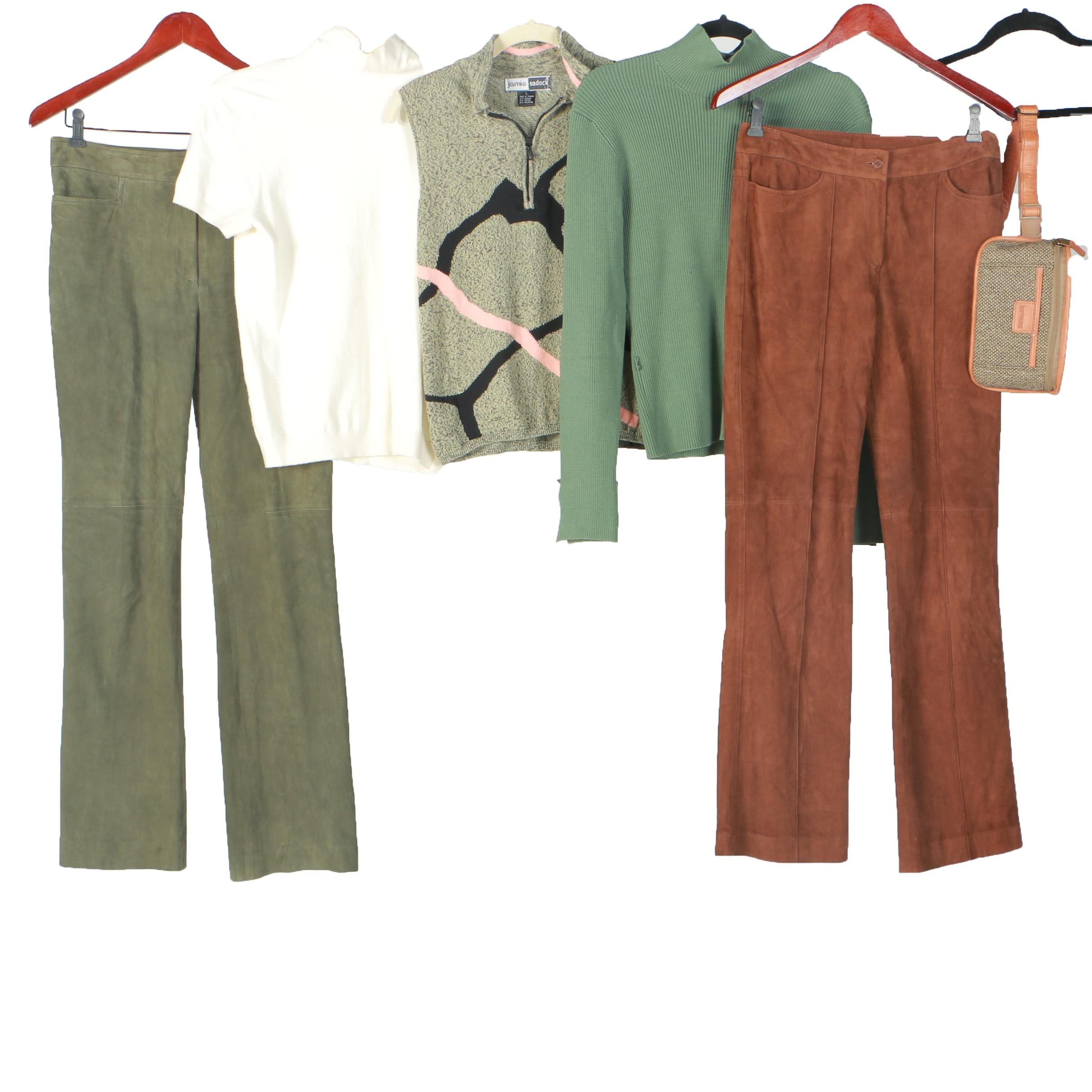 Women's Suede Pants, Tops and Handbag