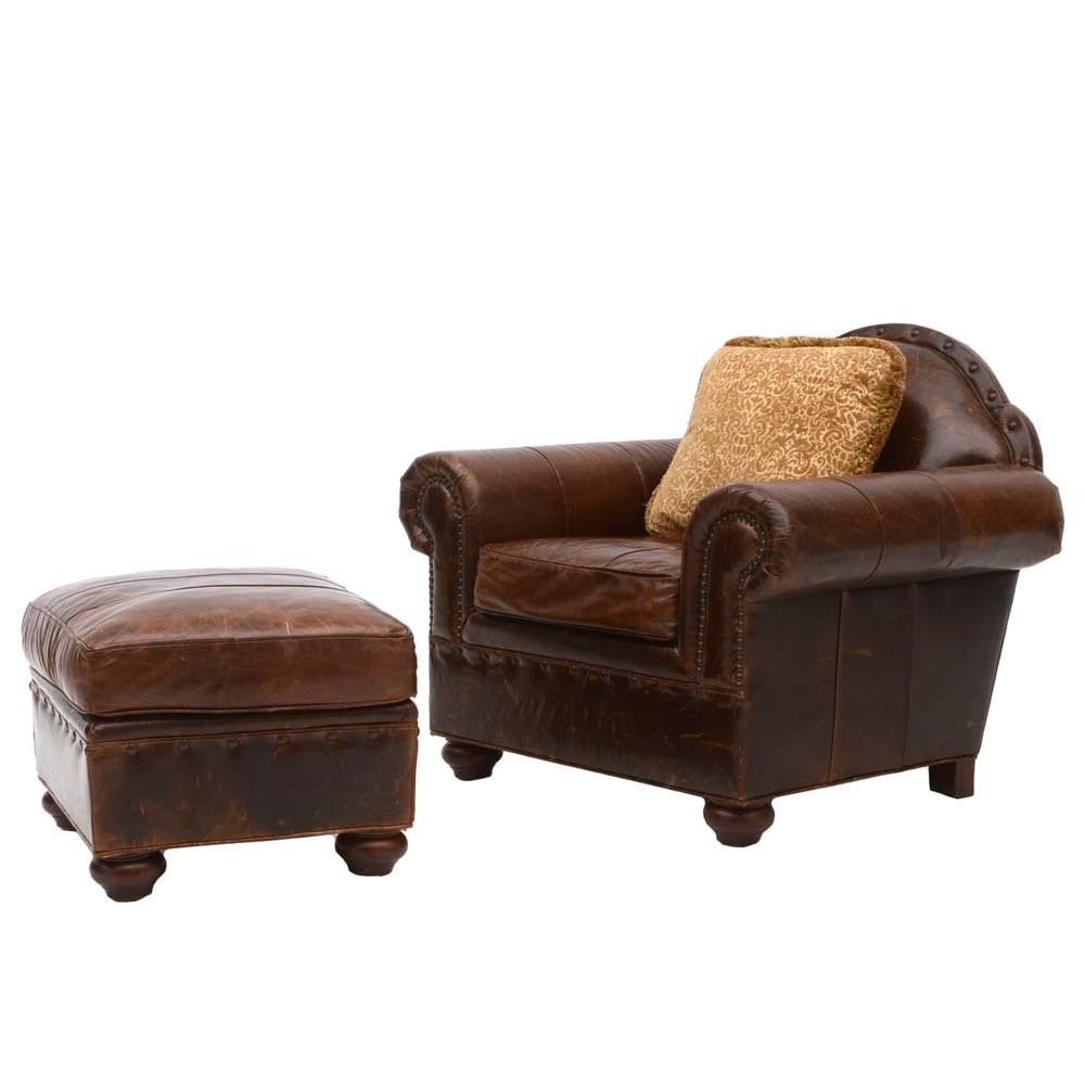 Lauren Brooks for Vanguard Furniture Leather Armchair with Ottoman