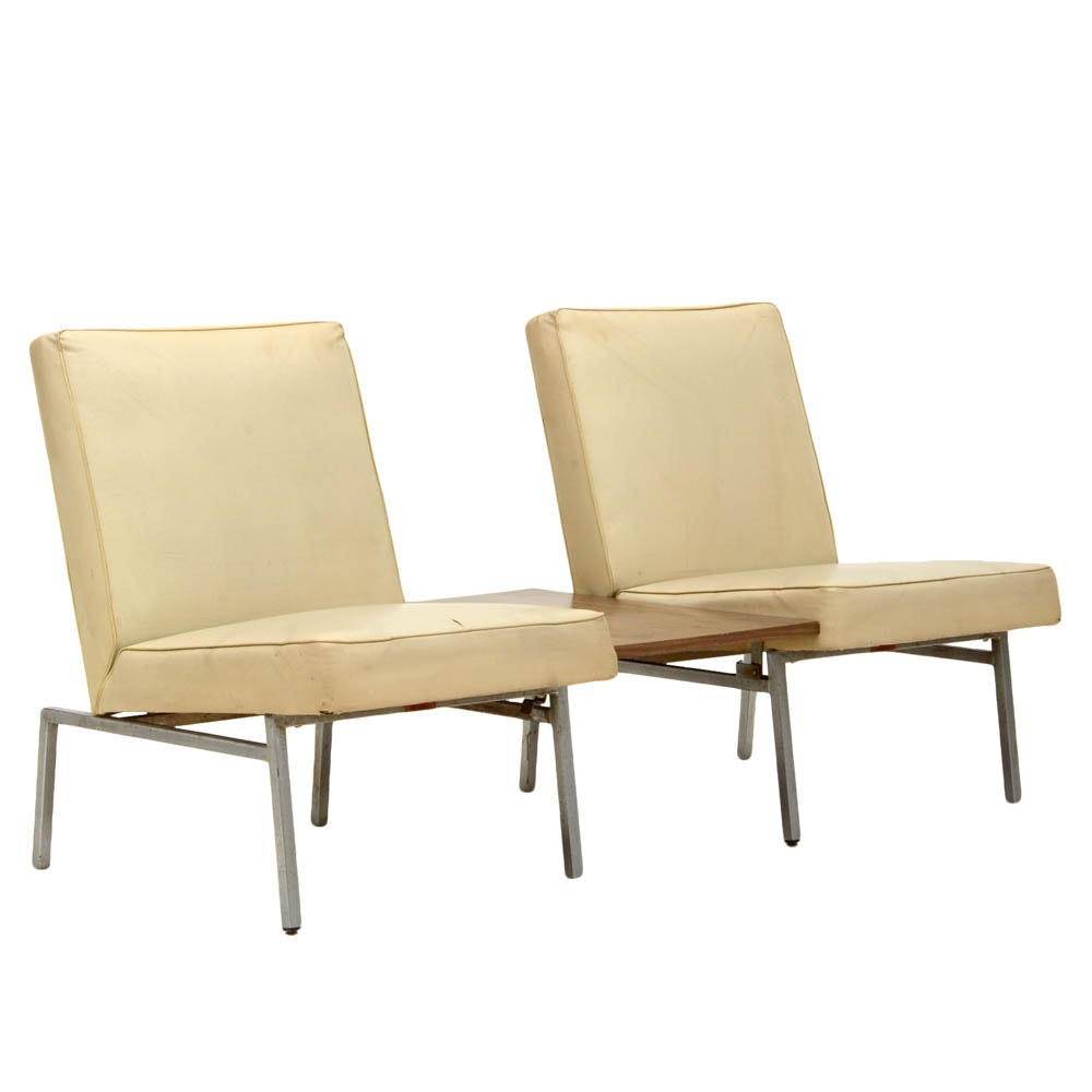 Howell Furniture Modern Metal Table With Two Side Chairs ...