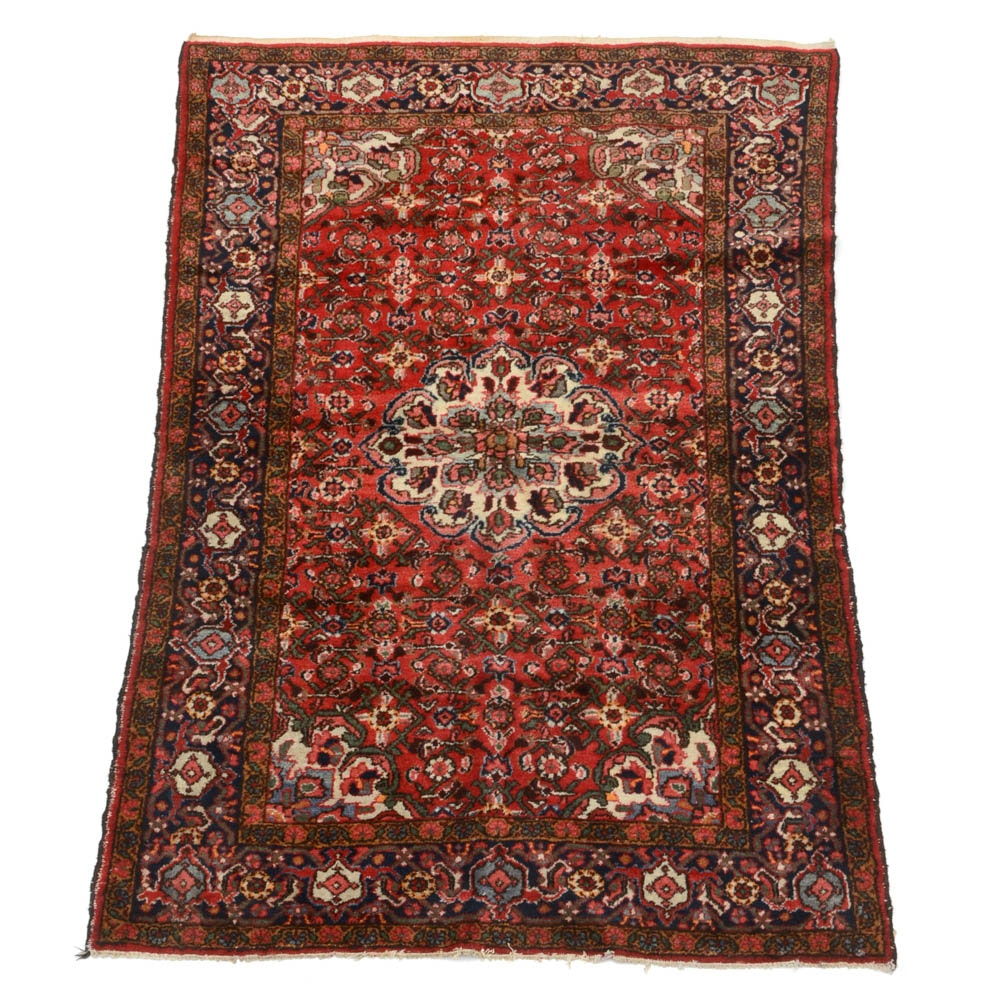 Semi-Antique Persian Sarouk Hand-Knotted Wool Area Rug