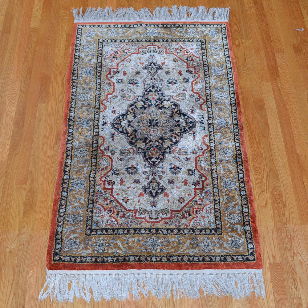 Hand Knotted Persian-Inspired Silk Area Rug