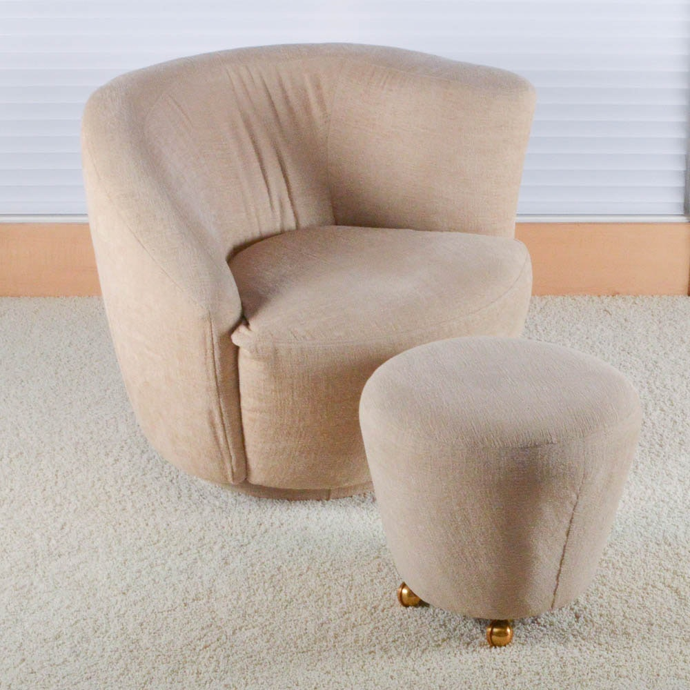 Contemporary Swivel Barrel Upholstered Chair with Ottoman