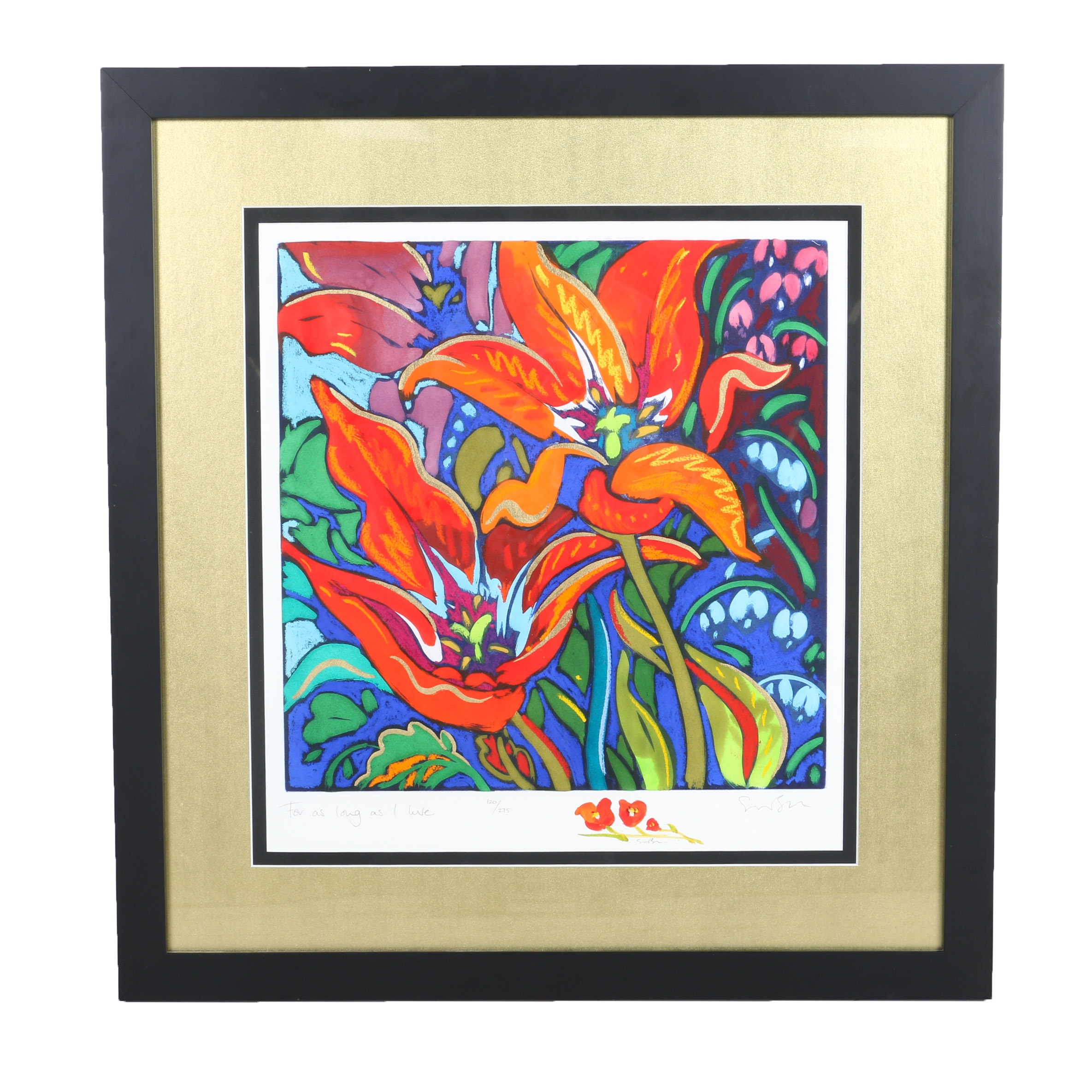 Limited Edition Mixed Media Print on Paper of Lilies