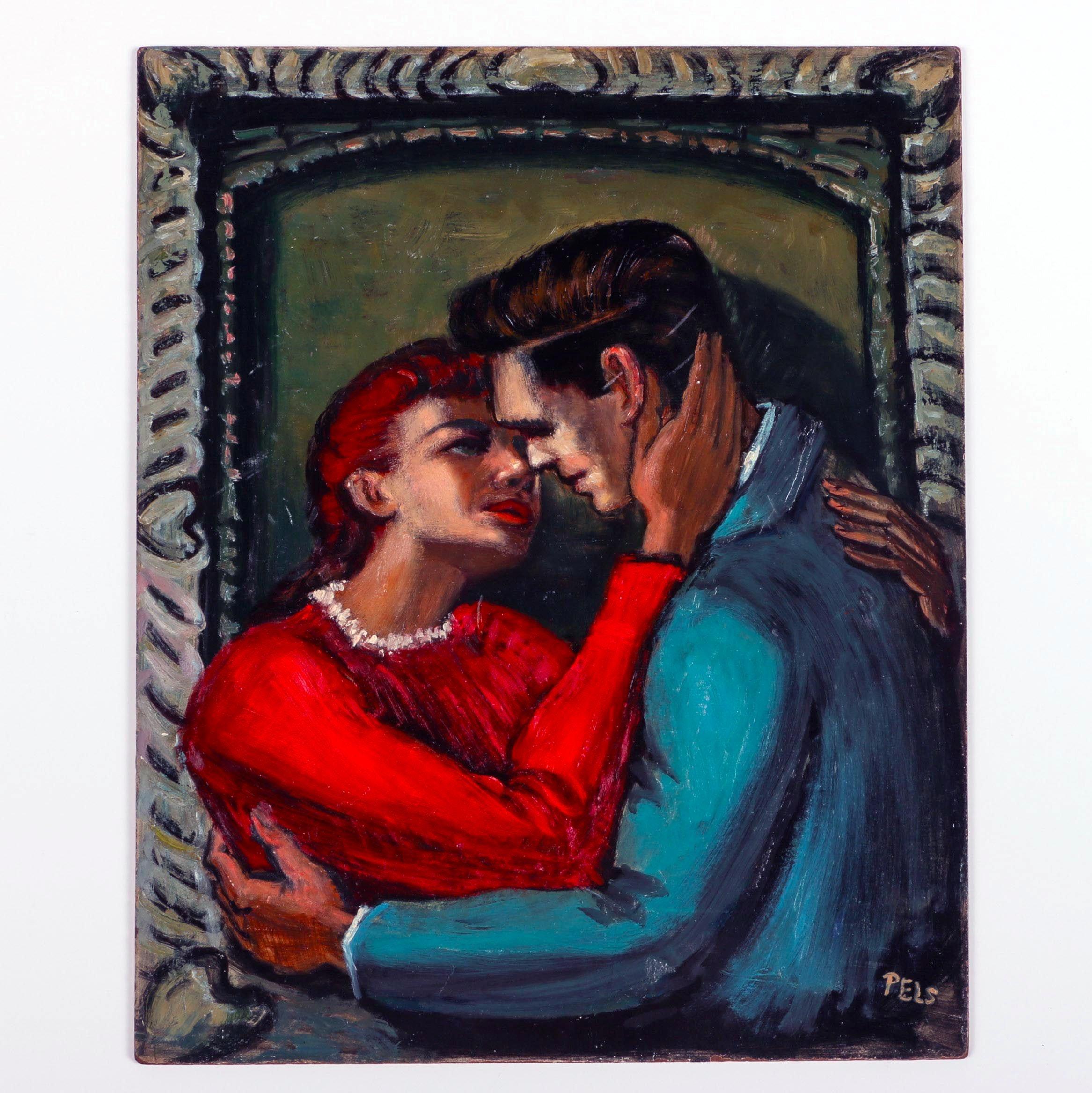 Albert Pels Original Oil Painting on Panel of Embracing Lovers