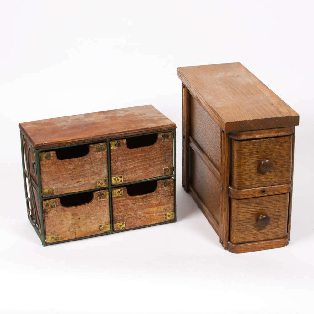 Pair of Wooden Spice Boxes