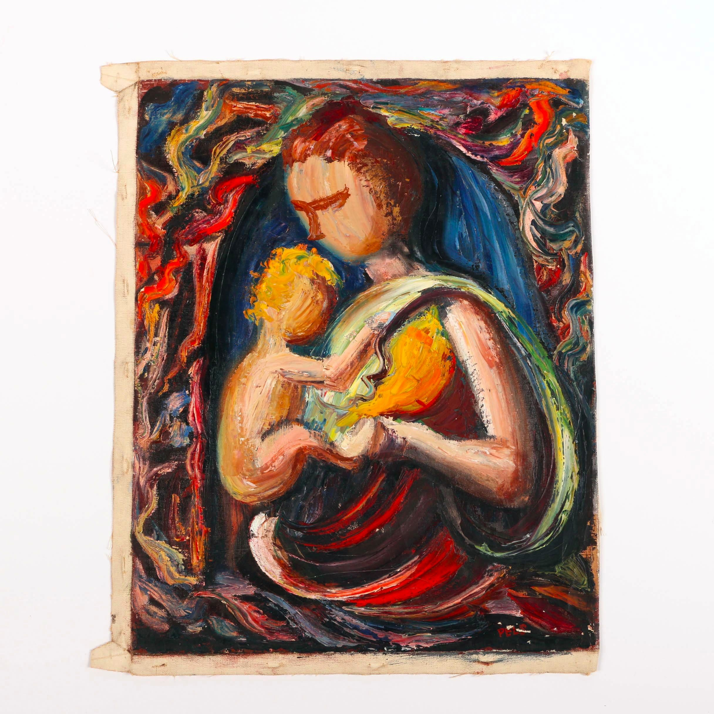 Albert Pels Original Oil Painting on Unstretched Canvas of Mother and Child Motif