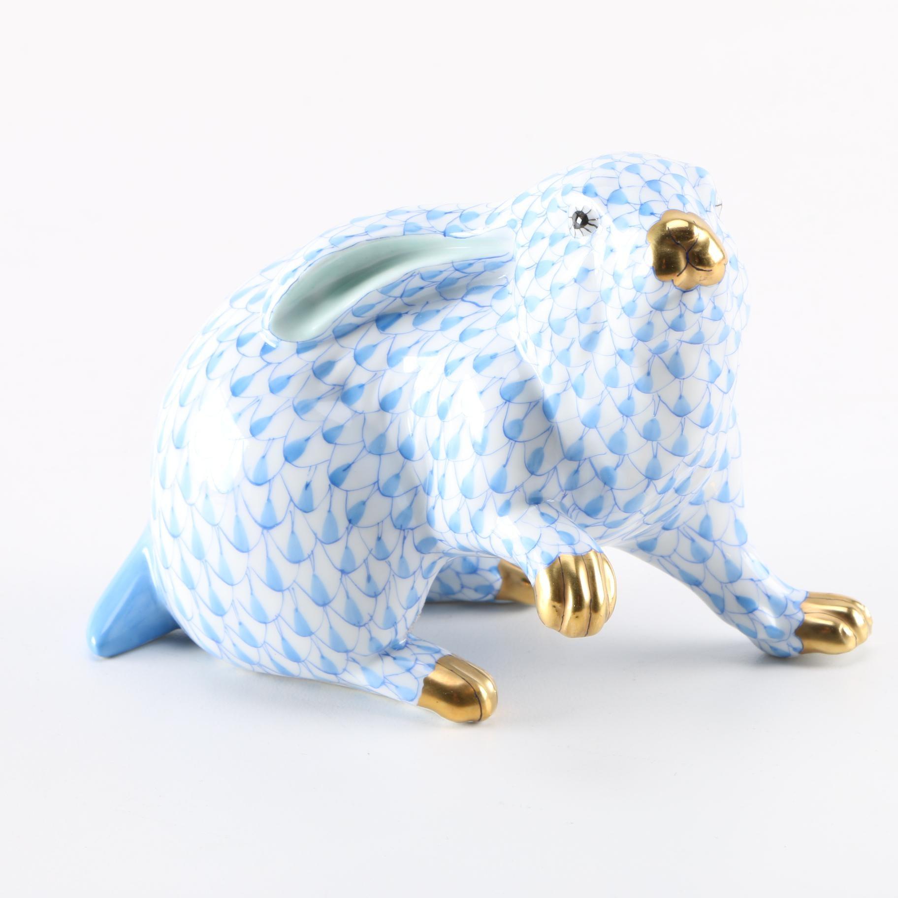 Herend Hand-Painted Ceramic Rabbit Figurine