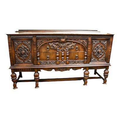 Vintage Baroque Style Oak Veneer Credenza by Kroehler - Online Furniture Auctions Vintage Furniture Auction Antique