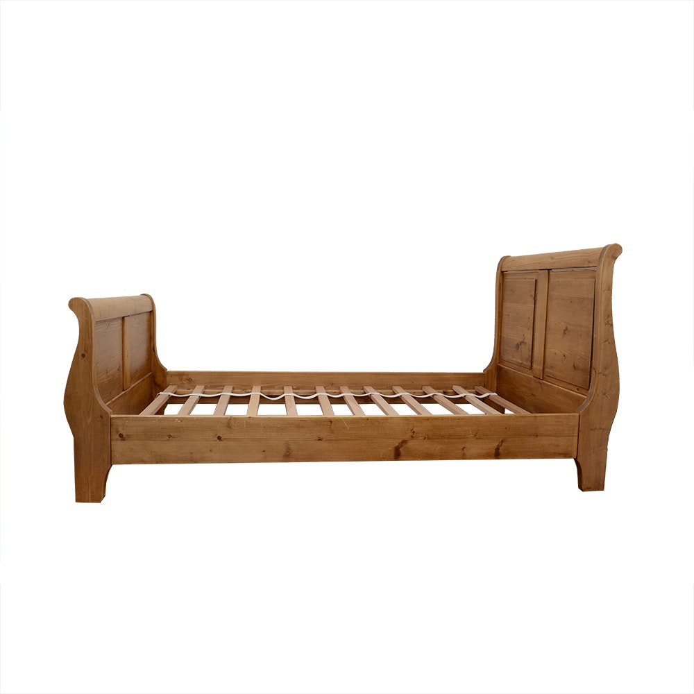 Twin Size Wooden Sleigh Bed