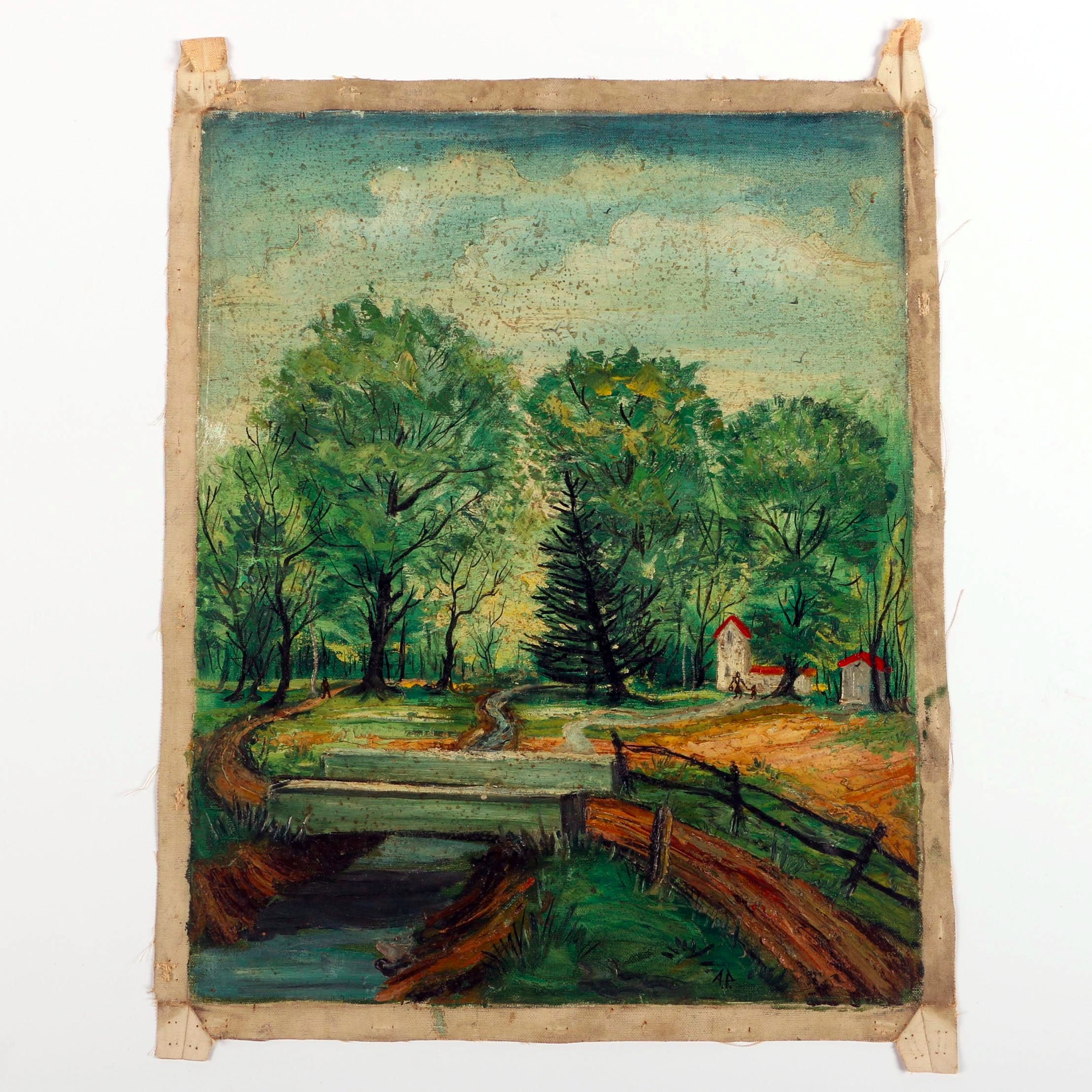 Albert Pels Oil Painting on Unstretched Canvas of an Ohio Landscape