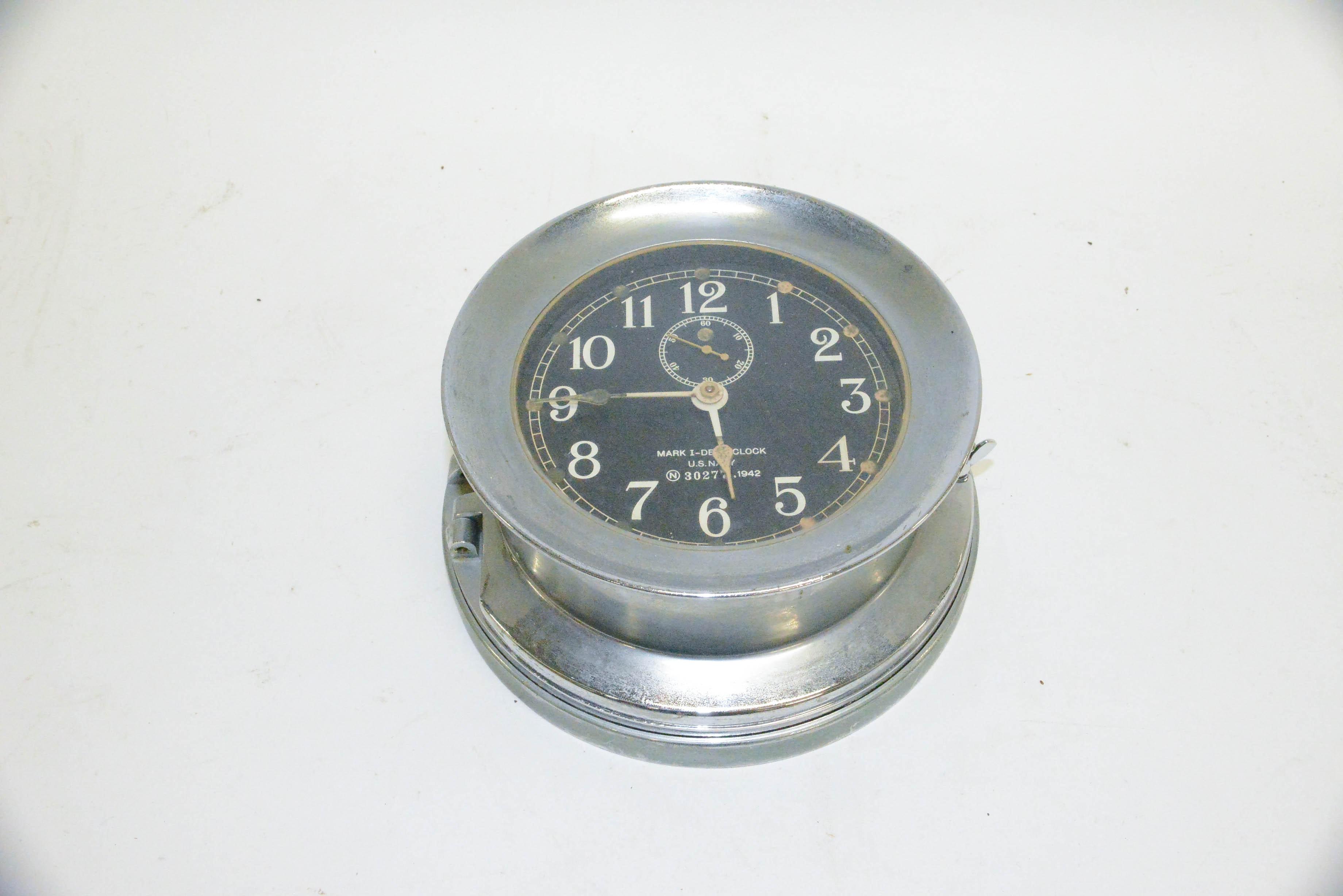 Antique WWII US Navy Mark I Deck Clock