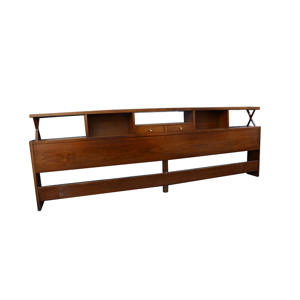 Mid Century Modern American of Martinsville King-Size Headboard With Shelving
