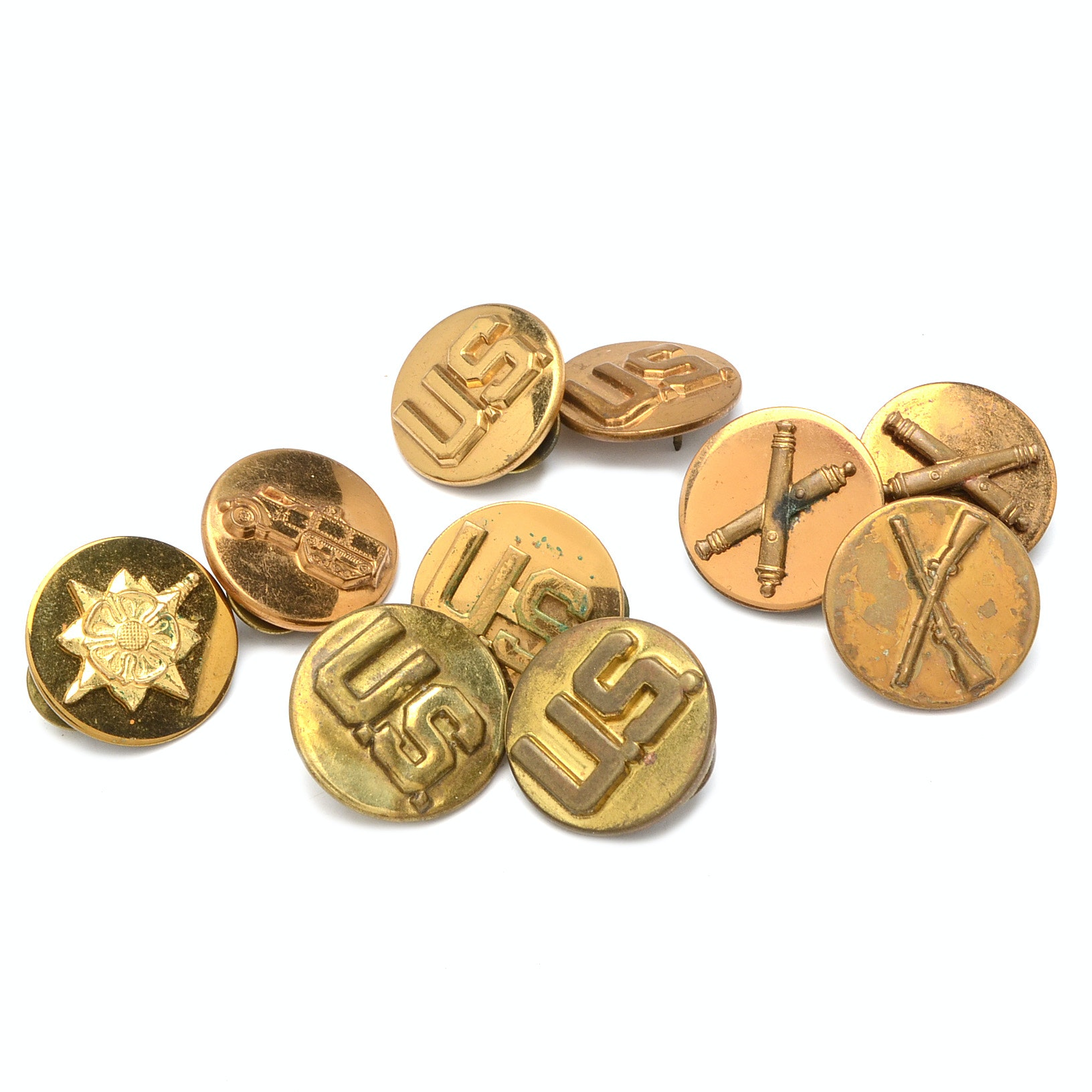 Collection of Ten Brass U.S. Military Pins