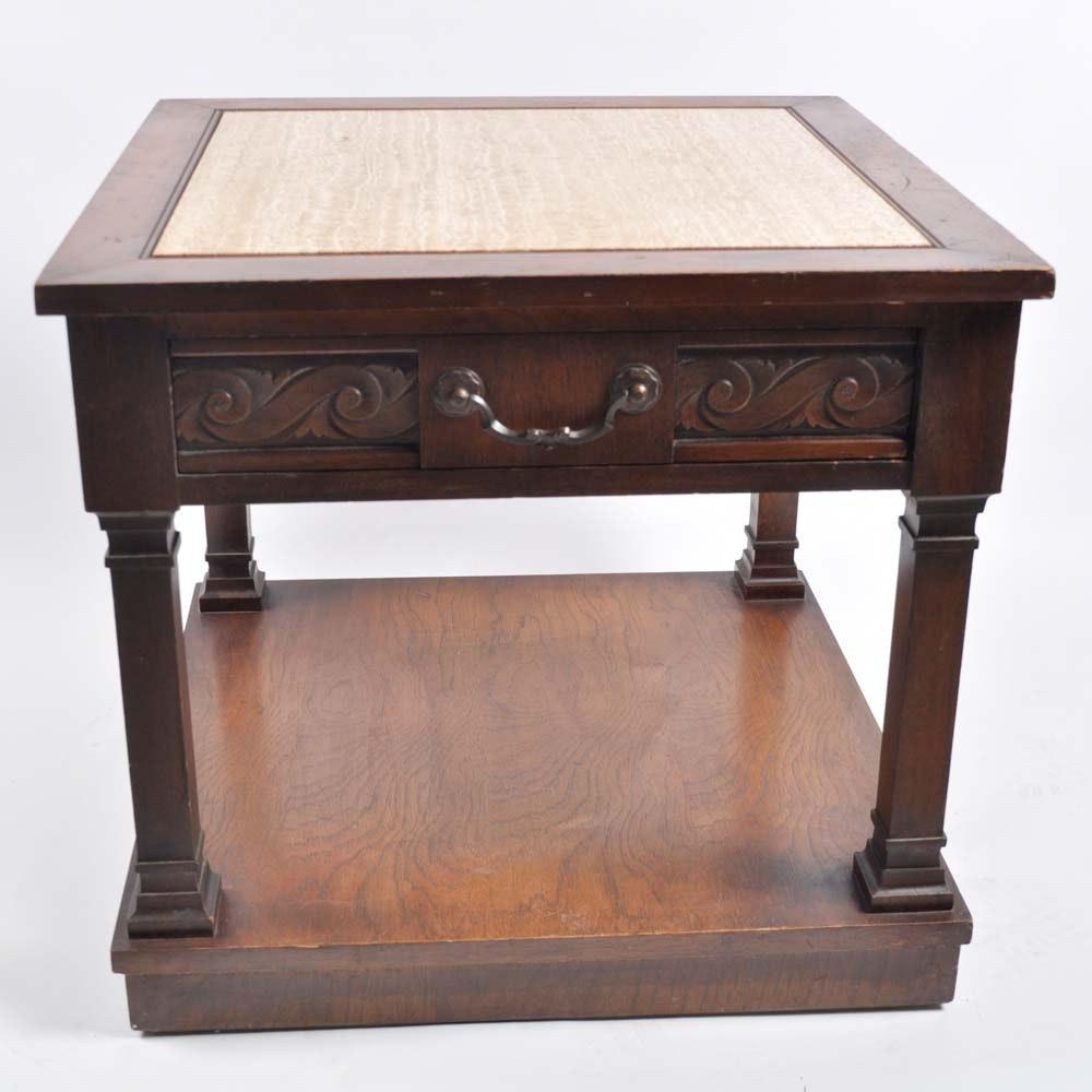 Vintage Lane Marble Top End Table ...