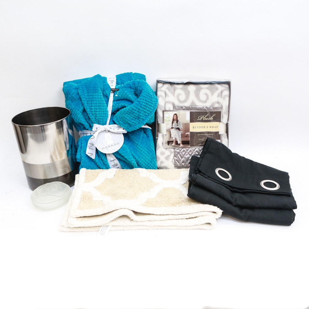 Collection of Spa Decor & Accessories Including New Robes, Window Treatments, Frosted Glass Trinket Box and More