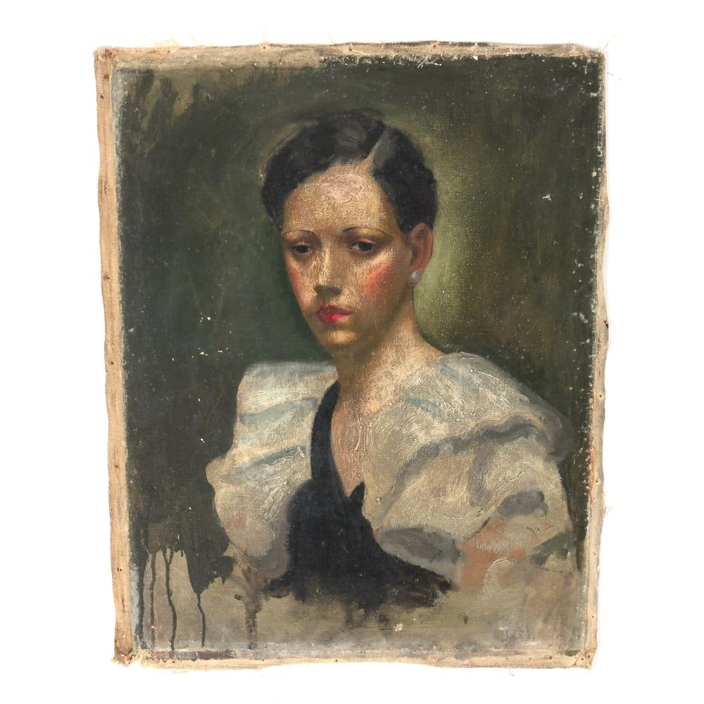 """Albert Pels Oil Painting on Unstretched Canvas """"Woman in Ruffled Sleeves"""""""