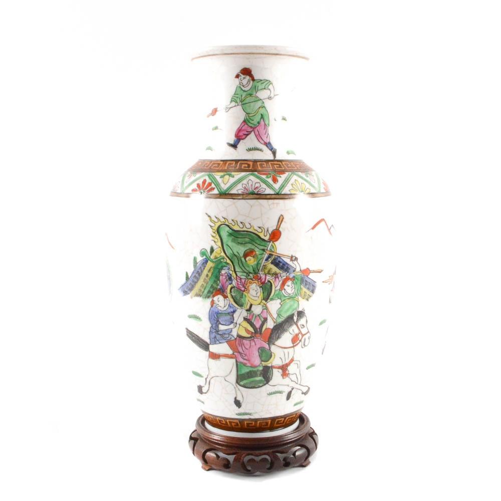 Chinese Ceramic Vase with Military Scene