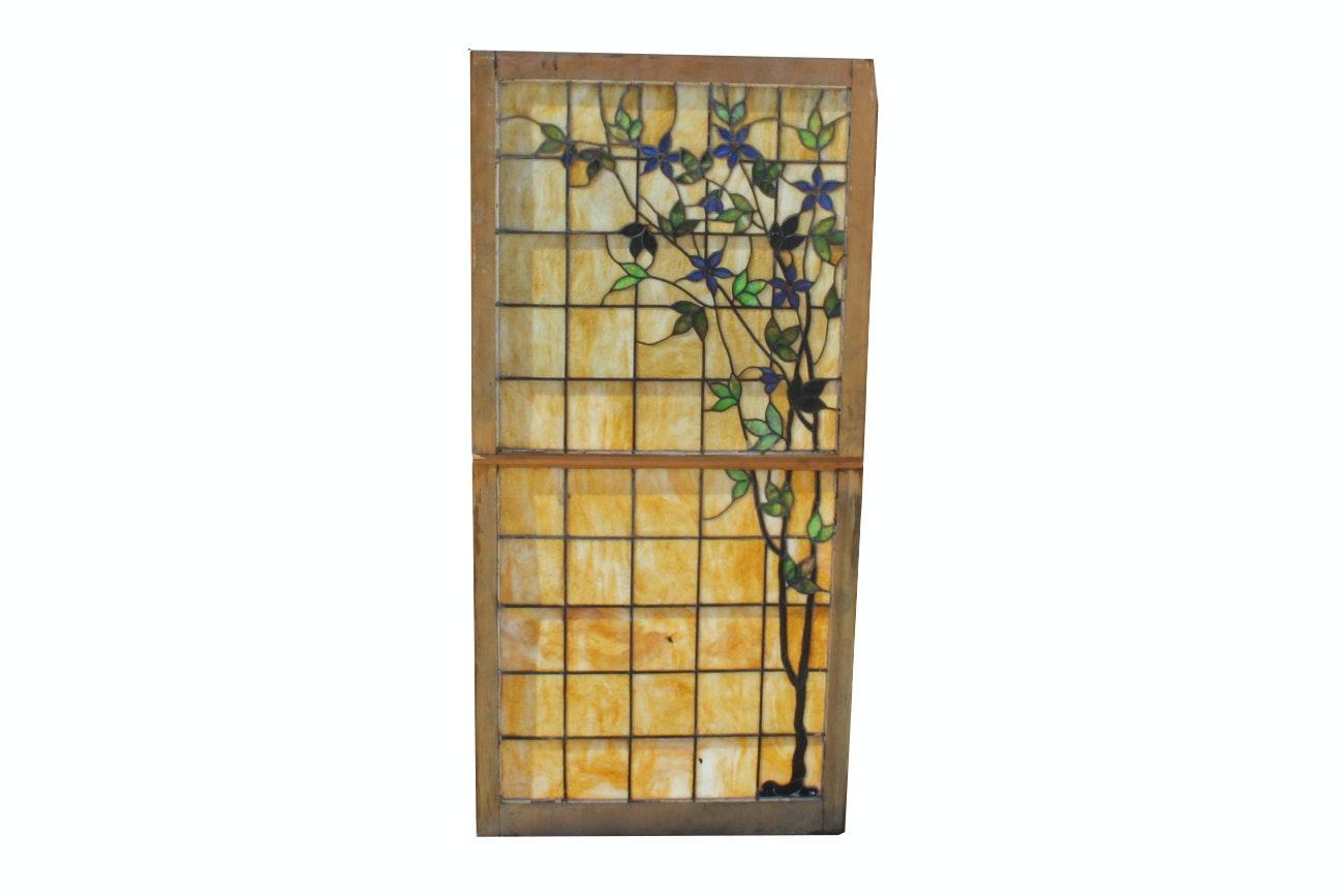 Early 1900s Slag Glass Window