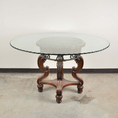 Contemporary eight sided pedestal game table and four for Contemporary game table and chairs